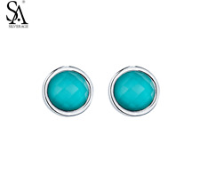 New SA SILVERAGE Real 925 Sterling Silver Stud Earrings for Women Fine Jewelry