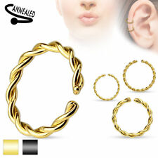 Nose Piercing Septum Fake Nose ring Tragus Helix Ear Surgical steel braided