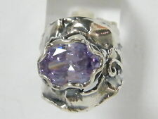 Unique Sterling Silver 925 Ring Solitaire Ring Lavender CZ Lilac Ring