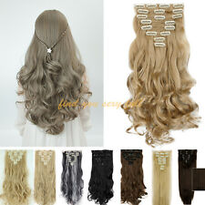 Real Cheap Price 8PC/Set Clip In Hair Extension Long Curly Full Head UK Stock FU
