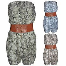 WOMENS SNAKE LEOPARD PRINT PLAYSUIT HOT PANTS LADIES SHORTS BANDEAU FRILL TOPS