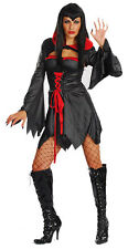 LADIES VAMPIRESS HALLOWEEN COSTUME SHORT BLACK RED DRESS & BOLERO TOP 8-10 NEW