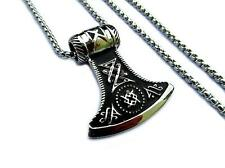 Stainless Steel Men Jewelry Celtic Thor's Hammer Axe Pendant Chain Necklace