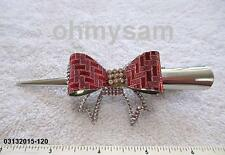 "1 NEW METAL PELICAN BEAK HAIR CLIP/ COMB 5"" LONG  / STONE/  MULTI COLOR  BOW DES"