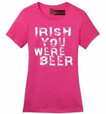 Irish You Were Beer Funny Ladies Soft T Shirt St Pattys Day Party Alcohol Tee Z4
