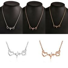 New Fashion Vintage Love Cats Dogs Paws Heart Heartbeat Pendant Necklace Jewelry