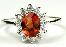 -SR235, Created Padparadsha Sapphire, 925 Sterling Silver Ladies Ring -Handmade