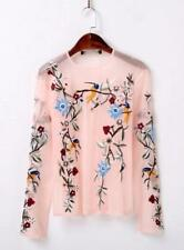 New Just Women cavalli Embroidery  Flower Casual Long Sleeve Shirt Tops Tee Tops