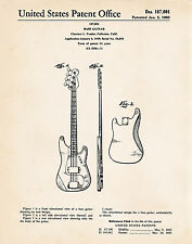 1960 Fender Bass Guitar Presents For Bass Players Poster Vintage Patent Drawing