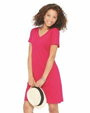 LAT Fine Jersey V-Neck Solid Womens Cotton Coverups Dress 3522