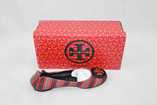 AUTH Tory Burch Women Striped Reva Flat Ballet Shoes
