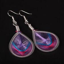 Bohemian Eliptical Thread Color Silk Women Fashion Long Earrings Jewelry