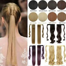 US Fast Ship Wrap Around Clip In Ponytail Hair Extension Pony Tail Long As Human