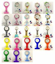 Nurse Watch Silicone Patterned Nurse Brooch Tunic Fob Watch With Free Battery UK