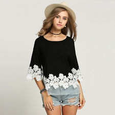 Women Clothing 3/4 Batwing Sleeve Summer Casual white floral Lace Blouse Shirt