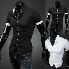 New Solid Color Mens Lapel POLO Shirt Short Sleeve Slim Fit Casual Tee T-shirt /