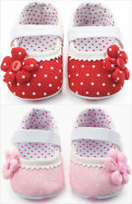 NEW Baby Girl Red Polka Dot Mary Jane Flower Crib Shoes 0-6 6-12 12-18 M