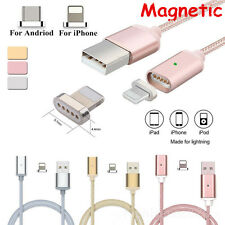 Magnetic Lightning USB Charger Charging Braided Cable For iPhone Android Samsung