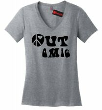 Peace Out Omie Funny Ladies VNeck T Shirt Om Hindu Hippie Indian Love Graphic Z5