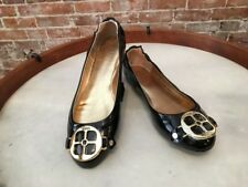Iman Global Chic Black Patent Signature Gold Logo Ballet Flats New