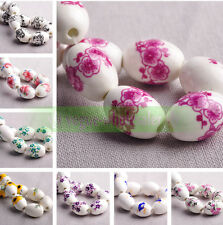 10pcs Oval Charms Flower Patterns Ceramic Porcelain Loose Spacer Beads 18x12mm