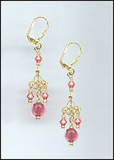 Tiny Gold Filigree Earrings with Swarovski CORAL SUNSET Crystals GIFT BOXED