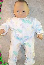 """Doll Clothes Baby Girl fits 15"""" inch Bitty Footed Pajamas Foot Prints Teal"""