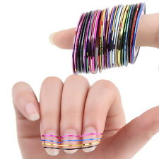 30 Pcs Mixed Colors Rolls Striping Tape Line Nail Art Tips Decoration Sticker MG