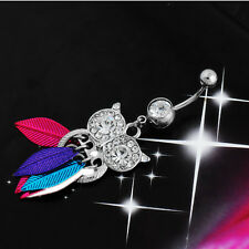 1Pcs Body Owl Leaves Rhinestone Piercing Belly Ring Navel Button Stainless Steel