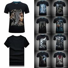 Casual Men Skull Angel Print Short Sleeve T-shirt Gothic Punk Black PlusSize Tee