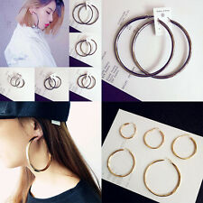 Gold Plated Twisted  Circle Round Loop Hoop  Earrings for Women Sexy Oversized