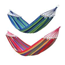 2 Person Canvas Hanging Hammock Rope Swing Fabric Sleeping Bed Garden Camping