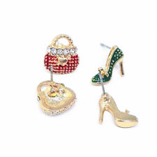 For Women Crystal Asymmetrical High Heel Shoe Bag Earrings 1Pair Rhinestone