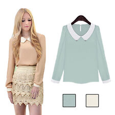 Casual Women Long Sleeve Blouse Sweet Doll Collar Chiffon Fashion Hot