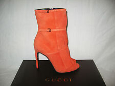 NIB GUCCI DARK ORANGE SUEDE FRINGED BECKY ANKLE  BOOTIES SHOES size IT 38  38.5