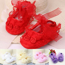 Colorful Newborn Infant Baby Girl  Non-Slip Lace Flower Baby Shoes Soft Sneaker