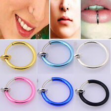 4Pc Spring Clip On Nose Septum Lip Ring Fake Earring Stud Piercing Rings Fashion