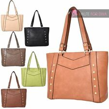 NEW LADIES STUDDED PU LEATHER ARROW DETAIL TOTE SHOULDER BAG