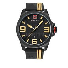 NAVIFORCE Casual Silicone Strap Date Man Quartz Watch Water Resistant+Box N7G2