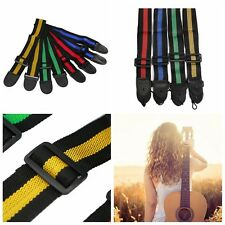 Adjustable High Quality Soft Durable Nylon Guitar Strap PU Leather Ends