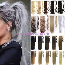 Long Straight Natural Clip in Ponytail Hair Extension Fake hair piece Brown Grey
