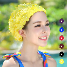 Vintage Flowers Floral Lady Woman Swim Cap Petal Swimming Hat Bathing Cap 8Color