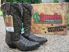 NEW Ladies Laredo Access Black Tan Leather Wide Calf Western Cowboy Boots 51079