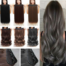 New Clip in Full Head Hair Extensions Long Curly Straight Extensions Synthetic