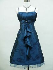 Cherlone Satin Blue Prom Ball Cocktail Party Gown Evening Bridesmaid Dress 16-26