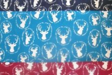 """NOVELTY deer head insignia 100% cotton quilt wt fabric 1 yd x 44"""" wide FREE SHIP"""