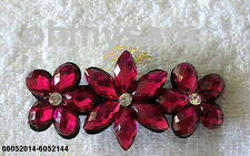 2 NEW  METAL PELICAN BEAK STYLE HAIR CLIP / COMB /CLEAR MULTI COLOR STONE FLOWER