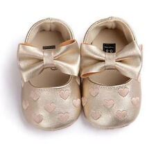 NEW Baby Girl Gold Hearts Bow Leather Mary Jane Crib Shoes 0-6 6-12 12-18 Months
