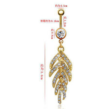 Belly Ring 1Pcs Navel Ring Piercing Navel Nails Leaves Feathers Rhinestones