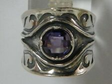 SHABLOOL 925 Sterling Silver Purple lab-created Amethyst CZ Solitaire Ring